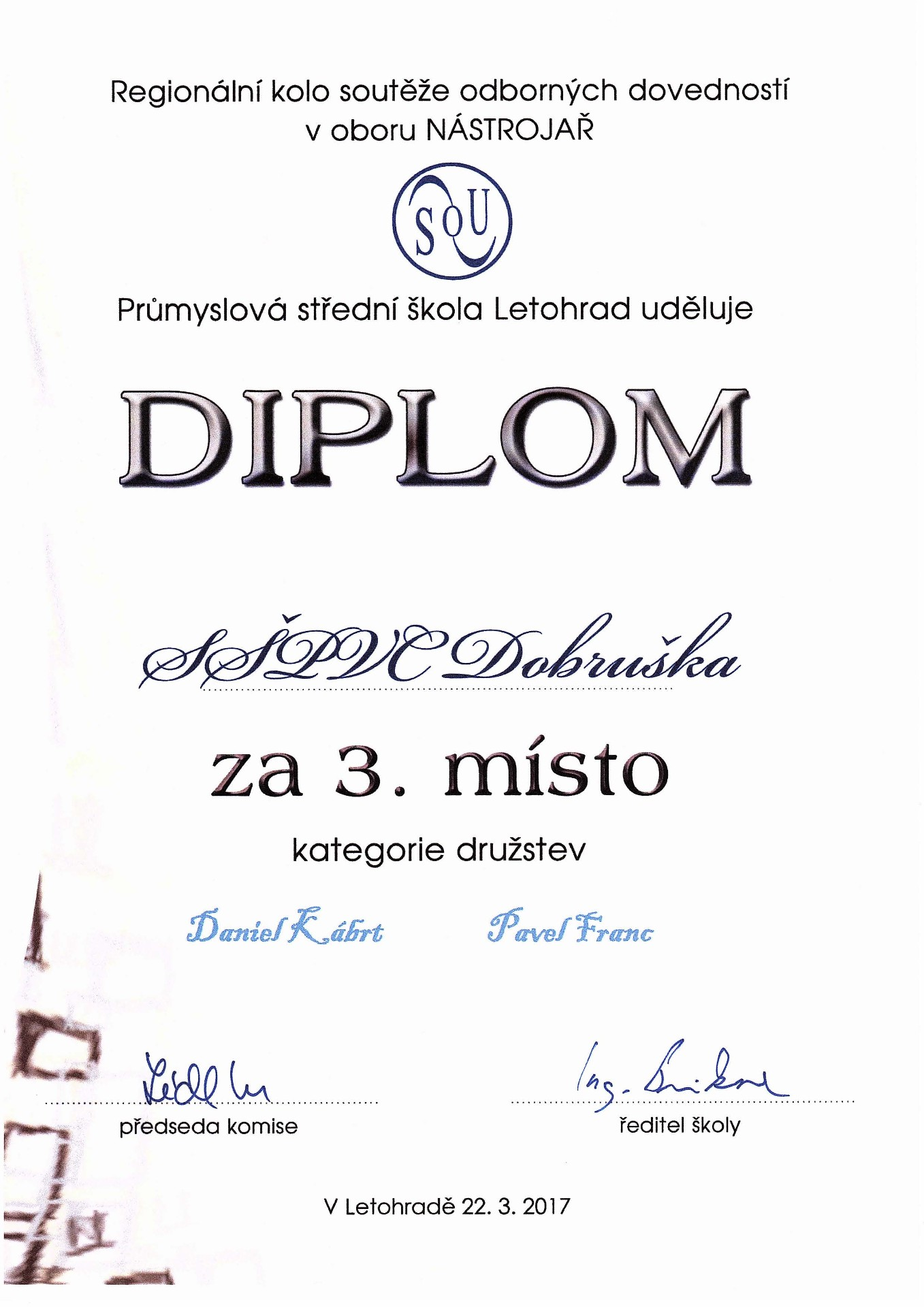 Diplom ze soutěže nástrojářů