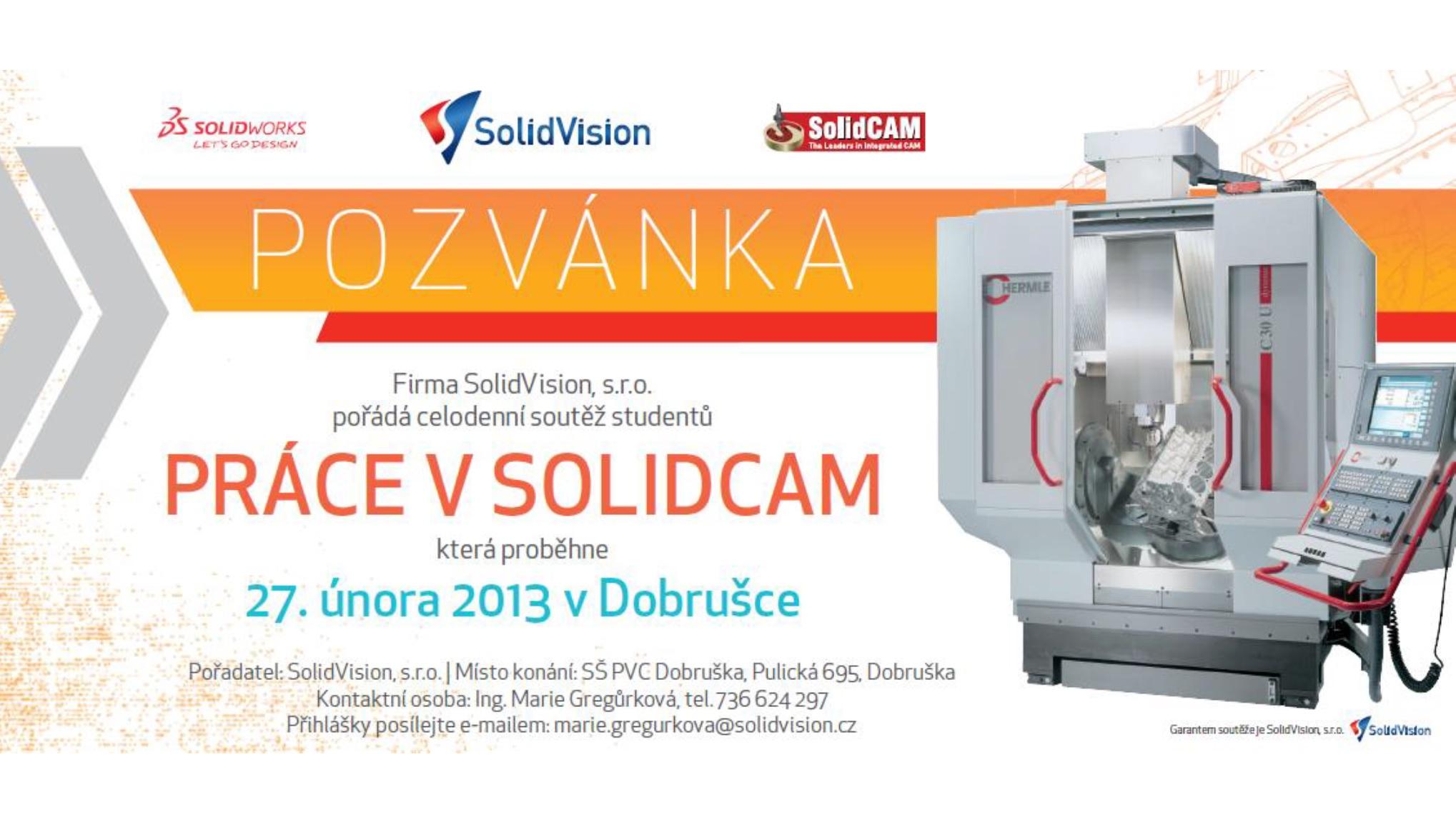 Pozvánka - Práce v SOLIDCAM - 27. února 2013