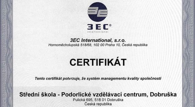 SŠ-PVC je držitelem Certifikátu ČSN EN ISO 9001