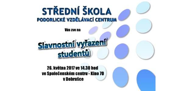 Pozvánka na slavnostní vyřazení studentů